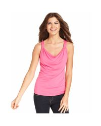 Ellen Tracy - Pink Sleeveless Draped Tank Top - Lyst