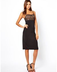 ASOS | Black Cami With Lace Top Dress | Lyst