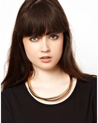ASOS - Metallic Double Snake Necklace - Lyst