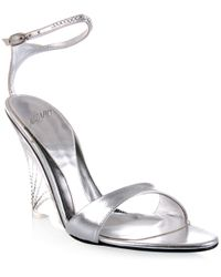 Azzaro | Metallic Clear Wedge Sandal with Swarovski Crystals | Lyst