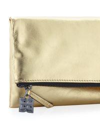 BCBGMAXAZRIA Metallic Carina Leather Foldover Clutch Bag Gold