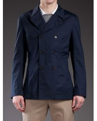 Brunello Cucinelli - Blue Double Breasted Jacket for Men - Lyst