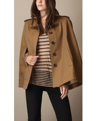 Burberry - Brown Cotton Gabardine Trench Cape - Lyst
