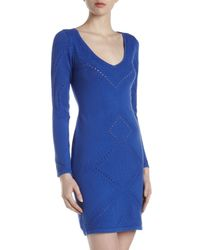 Catherine Malandrino - Blue Pointelle Knit Twolayer Vneck Dress Galaxy Large - Lyst