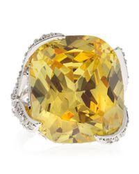 CZ by Kenneth Jay Lane | Yellow Cushioncut Canary Cubic Zirconia Ring | Lyst