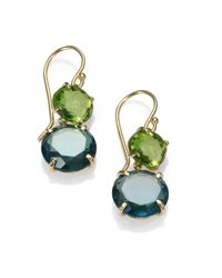 Ippolita | Metallic Peridot Green Gold Citrine and London Blue Topaz 18k Yellow Gold Earrings | Lyst