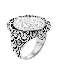 John Hardy - Metallic Large Diamond Pave Ring - Lyst