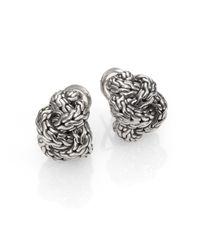John Hardy - Metallic Sterling Silver Braided Knot Earrings - Lyst