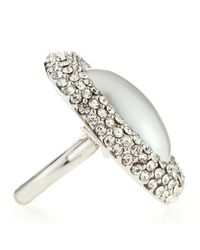 Kenneth Jay Lane - Metallic Pave Oval Pearly Adjustable Ring - Lyst