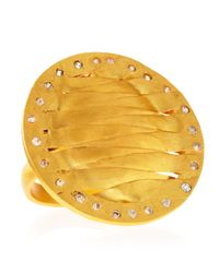 Kevia | Metallic Golden Woven Disc Ring | Lyst
