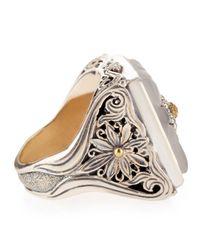 Konstantino - Metallic Iris Silver Square Floral Crystal Ring - Lyst