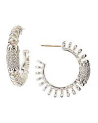 Lagos - Metallic Pretaporter Diamond Hoop Earrings - Lyst