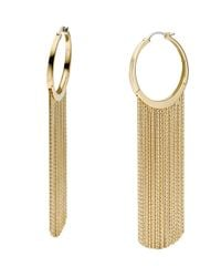 Michael Kors - Metallic Hoop Fringe Earrings Golden - Lyst