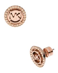 Michael Kors | Pink Logo Pave Stud Earrings | Lyst