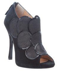 Pollini - Black Scaled Effect Peep Toe Shoe - Lyst