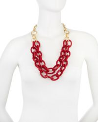 R.j. Graziano - Red Resinlink Doublechain Necklace Crimson - Lyst