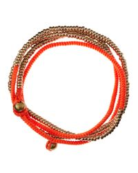 Serefina - Red Ropebead Wrap Bracelet Neon - Lyst