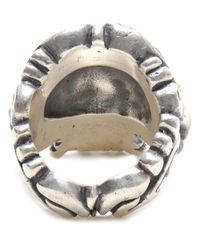 Duffy - Metallic Sterling Silver Ornate Skull Ring - Lyst