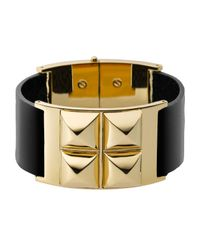 Michael Kors - Black Leather Pyramid Bracelet Golden - Lyst