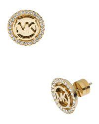 Michael Kors - Gray Logo Pave Stud Earrings - Lyst