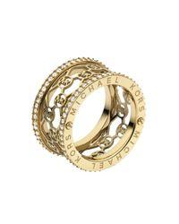 Michael Kors - Metallic Monogram Cut Out Pave Ring Golden - Lyst