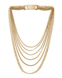 Michael Kors | Metallic Multi Strand Chain Link Necklace Golden | Lyst
