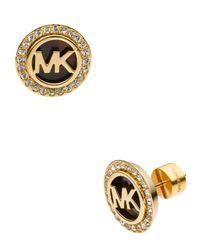 Michael Kors - Metallic Logo Pave Stud Earrings - Lyst