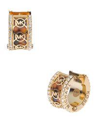 Michael Kors | Metallic Monogram Pave Huggie Earrings  | Lyst