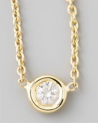 Roberto Coin | Metallic 18k Yellow Gold Single Diamond Necklace | Lyst
