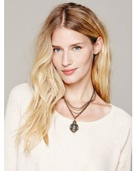 Free People | Metallic Womens Mixed Chain Drop Collar | Lyst