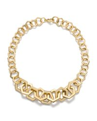 Tory Burch | Metallic Hexagon Link Necklace | Lyst