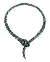 Roberto Cavalli | Gray Blackened Brass Swarovski Crystal Snake Necklace | Lyst