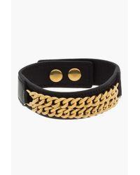 Saint Laurent - Metallic Black Leather Chain Bracelet - Lyst