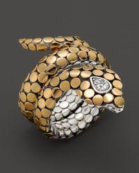 John Hardy | Yellow Dot Cobra Gold & Silver Diamond Pave Cobra Coil Ring | Lyst