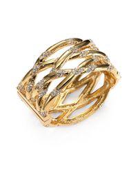 Kara Ross | Metallic 18k Goldplated Crystaldetailed Cuff Bracelet | Lyst