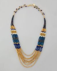 Nakamol | Layered Beaded Tier Necklace Bluegold | Lyst
