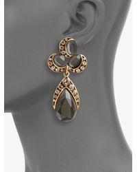 Oscar de la Renta - Gray Cluster Clipon Drop Earrings - Lyst