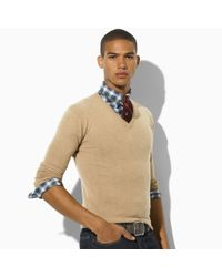 Polo Ralph Lauren | Natural Cashmere Jersey V-neck for Men | Lyst