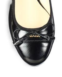 Prada - Black Saffiano Polished Leather Pumps - Lyst