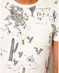 ASOS - White Tshirt with All Over Skeleton Cowboy Print for Men - Lyst