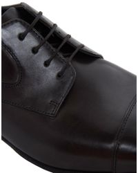 BOSS - Black Textured Leather Derby Shoes for Men - Lyst