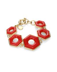 Marc By Marc Jacobs - Red Glossy Bolt Link Bracelet - Lyst