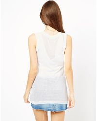 Shae | Natural V Neck Sleeveless Top | Lyst