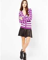 Shae - Purple Long Sleeve Stripe Cardigan - Lyst
