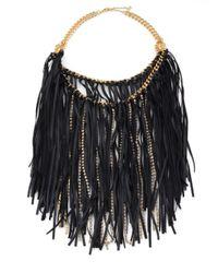 ABS By Allen Schwartz | Black Leather and Sparkle Fringe Bib Necklace | Lyst