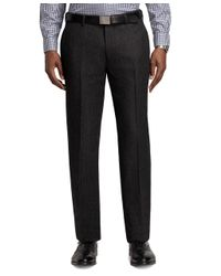 Brooks Brothers - Gray Milano Fit Tic Plain-front Dress Trousers for Men - Lyst