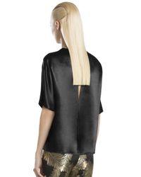 Gucci - Black Satin Shortsleeve Top - Lyst