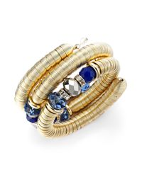 INC International Concepts | Blue Goldtone Beaded Chunky Coil Bracelet | Lyst