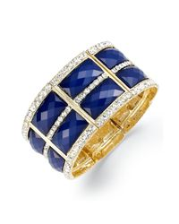 INC International Concepts - Goldtone Rectangular Blue Stone Pave Crystal Stretch Bracelet - Lyst