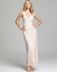 Sue Wong - Natural V Neck Gown Sleeveless - Lyst